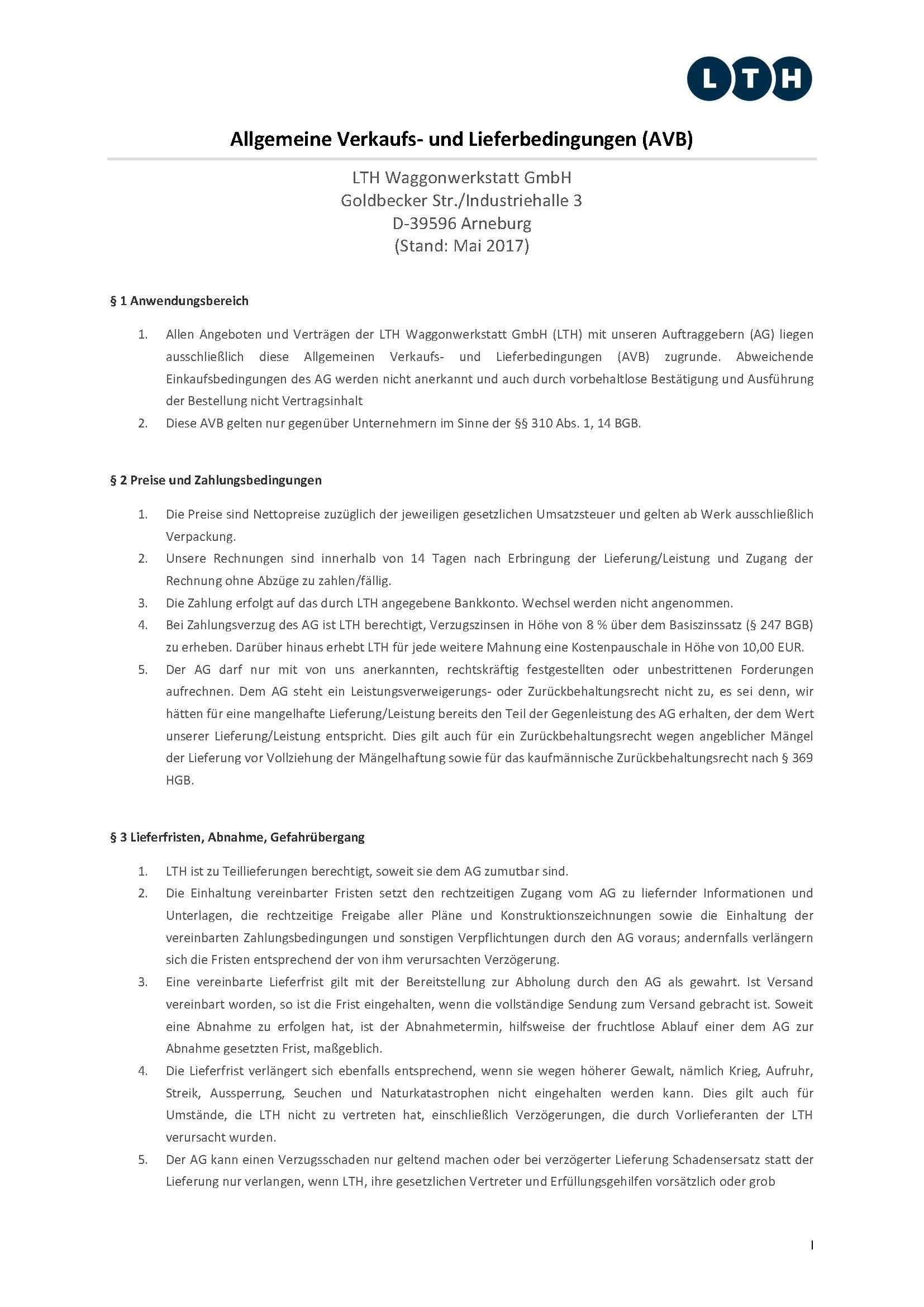 Downloads - Das Bild zeigt die aktuellen Verkaufs- und Lieferbedingungen für die LTH Waggonwerkstatt GmbH.