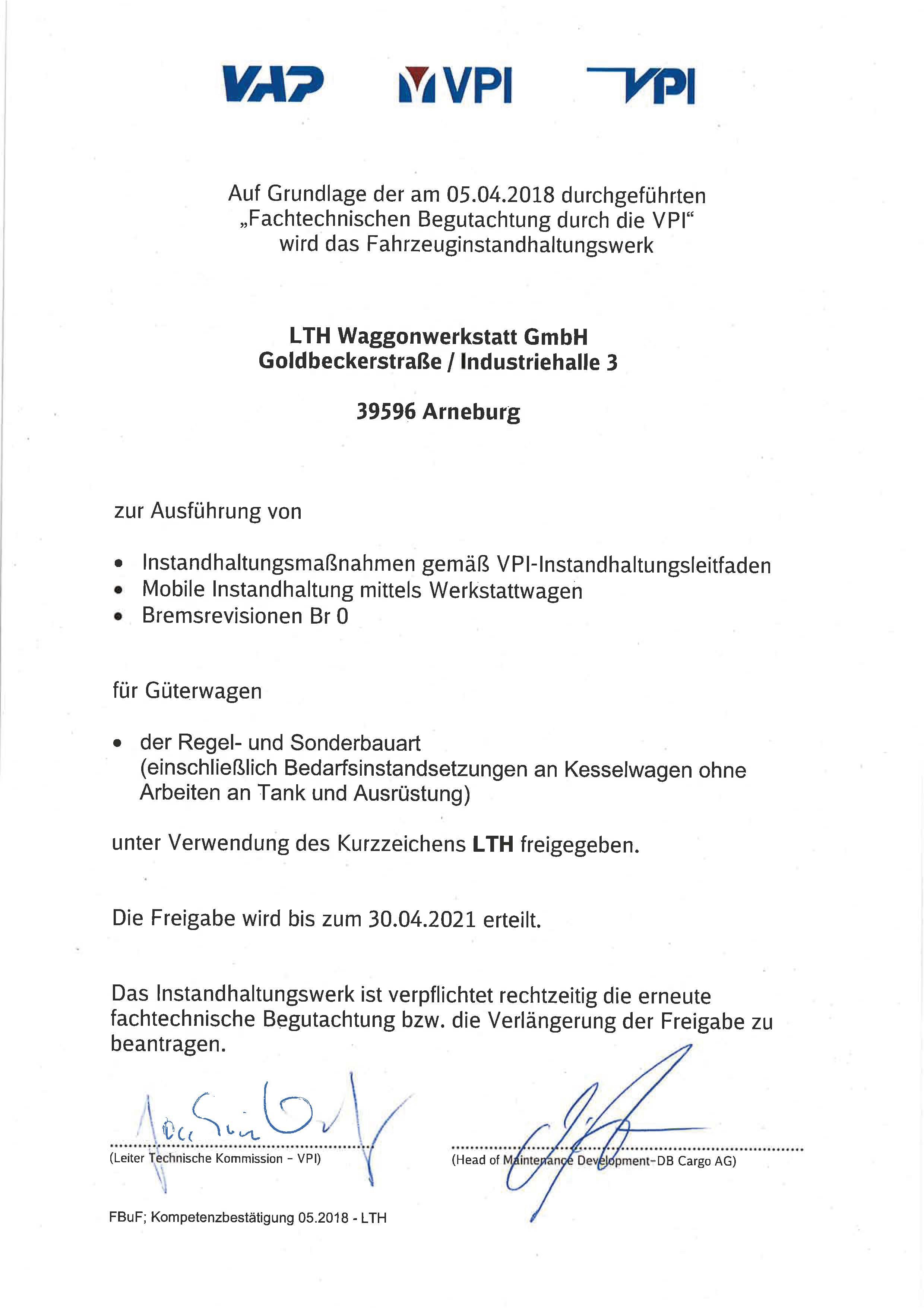 Das Bild zeigt die Zulassung des Verbands deutscher Güterwagenhalter in Deutschland E.V. Sie berechtigt zur Instandhaltung und Bremsrevisionen für Güterwagen.