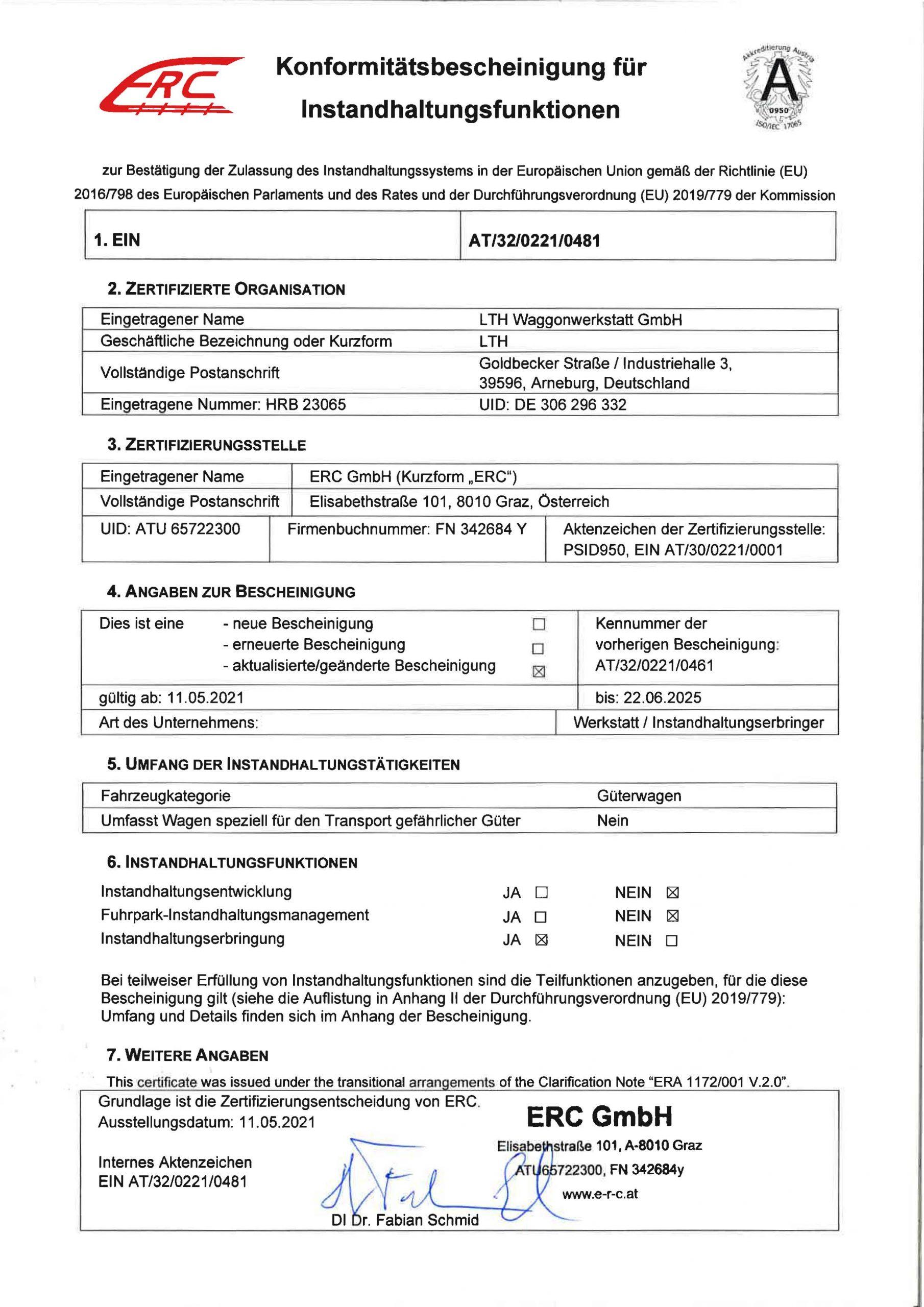Downloads - Das Bild zeigt den Nachweis der Zulassung des Instandhaltungssystems in der EU.