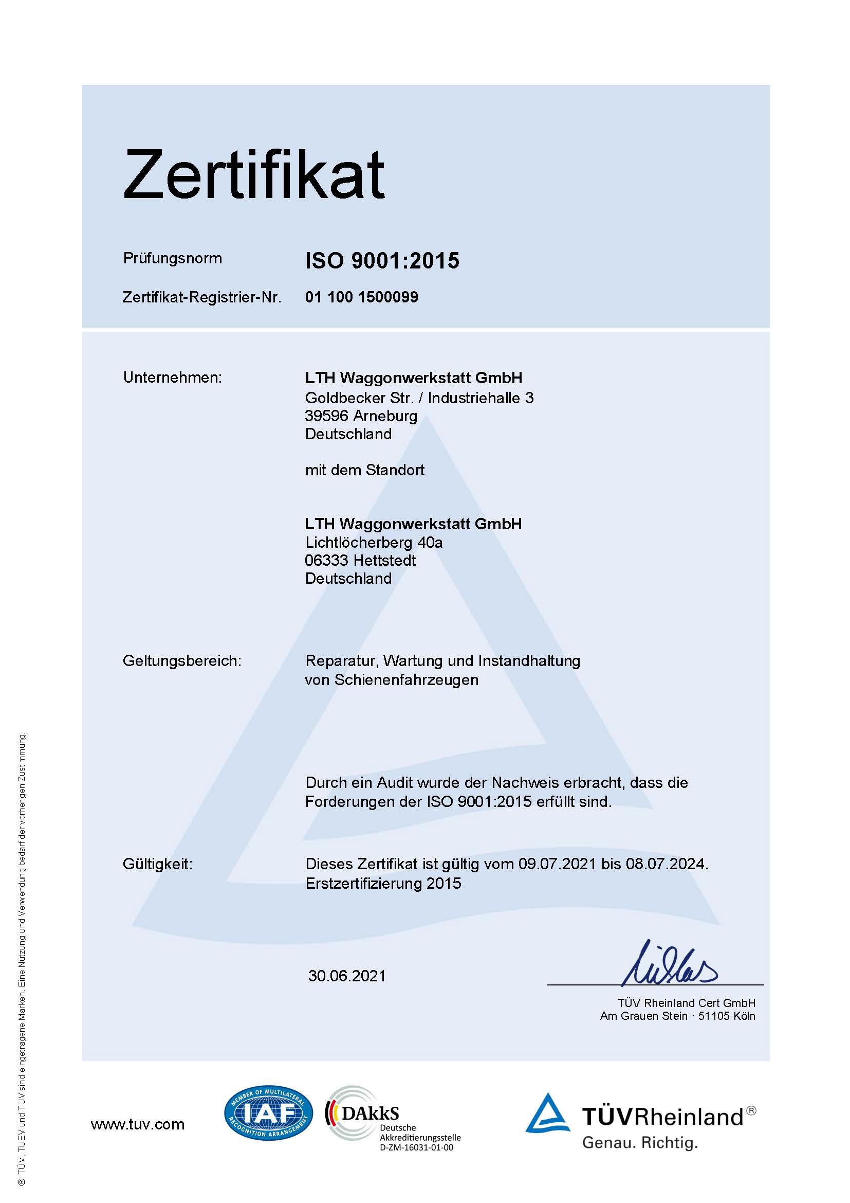 Downloads - Das Bild zeigt ein Zertifikat des TÜV Rheinlands über die Prüfungsnorm ISO 9001:2015, welche von der LTH Waggonwerkstatt GmbH erfüllt worden sind.
