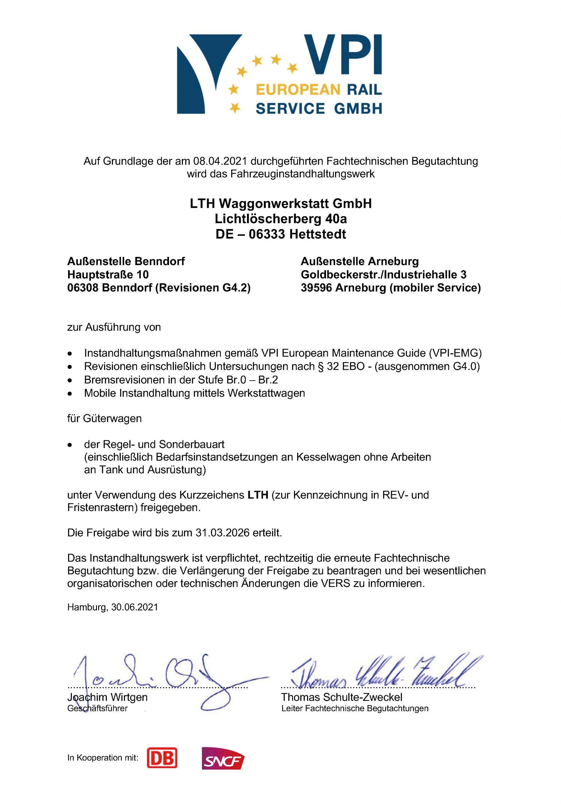 Downloads - Das Bild zeigt die Zulassung des Verbands deutscher Güterwagenhalter in Deutschland E.V. Sie berechtigt zur Instandhaltung und Bremsrevisionen für Güterwagen.